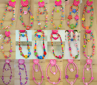 New 1 Set Wooden Flower Heart Beads Necklace Bracelet Girls Jewellery Set Random