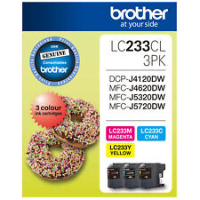 GENUINE Original Brother 3 Colours Value Pack Ink Cartridge Toner LC233CL3PK