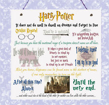 Placa De Harry Potter Película comillas asistentes Hogwarts Ron Hermione Dumbledore signo