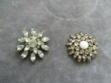 stone sparkly floral head brooches quality 2 stunning Art Deco beautiful white