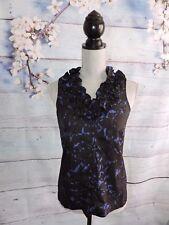 J Crew Factory Silk Blouse Printed Annalise Ruffle Career Top Shirt Blue Black 0