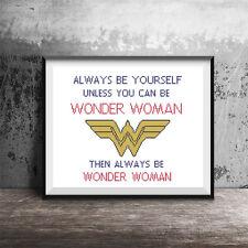 Wonder Woman Emblem Motivational Quote Girls Counted Cross Stitch Pattern