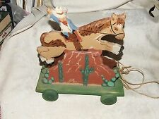 1993 Ride 'em Cowboy Horse Rodeo WOOD PULL TOY Heritage Toys Sebec Maine Musical
