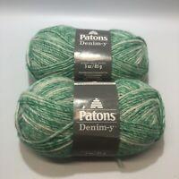 Patons Denim-y Yarn So Green Denim 4 Medium 3 Oz 144 Yd Lot Of 2 New
