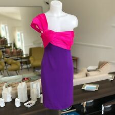 vintage LANVIN Paris pink & purple silk one shoulder strap short dress size 36