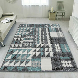 Modern Transitional Duck Egg Rug Geometric Tribal Carpet Large Rugs CLEARANCE