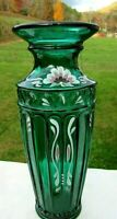 "Fenton EMERALD GREEN Hand Painted Floral Column & Arch Vase 7.25""H x 4""W 2001"