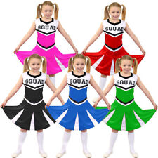 GIRLS CHEERLEADER COSTUME CHILDS CHEER LEADER SQUAD FANCY DRESS DANCE SHOW