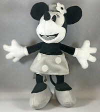 Disney Parks MINNIE MOUSE PLUSH DOLL, Black White Gray Steamboat Willie, Stuffed