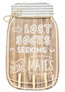 Hannas Handiworks Lost Socks Mason Jar Hanger With Clips Wooden Decorative Sign