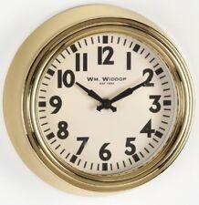 Small Gold Wm. Widdop Deep Metal Case Clear Number Wall Clock 22cm in Diameter