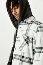 Factorie Mens Check Shacket Jackets/Knits  In  Grey