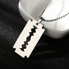 Street Punk Unisex Razor Blade Shaped Stainless Steel  Necklace Pendant