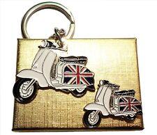 Gift Boxed GB Union Jack Flag Scooter Metal Keyring & Enamel Badge Set MOD Lammy