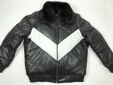 MENS REAL LEATHER V BOMBER JACKET FOX FUR LAMBSKIN BLACK/WHITE L XL 2X 3X 4X 5X