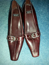 Shoes Burgundy buckle fastening on front  marking next