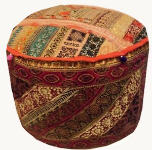 25'' Indian Patchwork Round Ottoman Pouf Cover Vintage Moroccan Footstool Pouffe