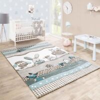 Nursery Rug Grey Beige Animal Children Rugs Thick Floor Play Mat Carpet Unisex