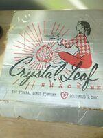 Crystal Leaf Snack Set, Federal Glass Company- 4 cups, 3 plates Original box! FS