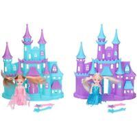 GIRLS PRINCESS CASTLE ICE PINK PLAY FASHION DOLL HOUSE PRETEND PLAY DOLLS