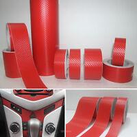 DIY Useful Red 3D Texture Carbon Fiber Vinyl Tape Wrap Film Sticker Decal - AB
