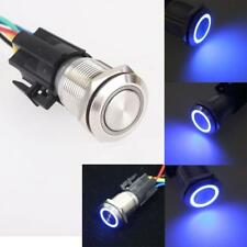 19mm 12V Car Blue LED Eye Metal Push Button Toggle Switch ON/OFF Socket Gadget J