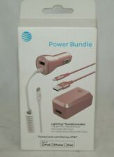 NEW Authentic AT&T iPhone Lightning Power Bundle Car & Home Charger 3pc Set Pink