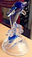 Vintage Clear To Blue Crystal D'Arques Surfing Dolphin Paperweight 16cms  VGC