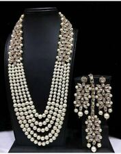 Ethnic Bollywood Indian Bridal Pearl Long Necklace Earrings Tikka Jewelry Set