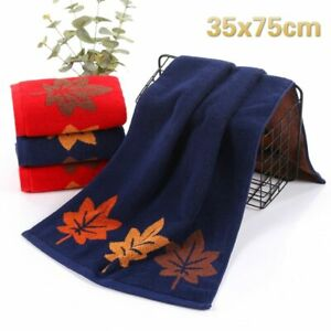 NEW Simple Solid Color Maple Leaf Pattern Jacquard Cotton Washcloth Home Groomin