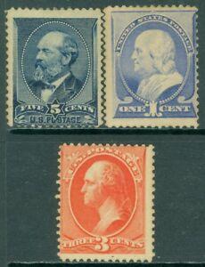 EDW1949SELL : USA 1887 Scott #212, 14, 16 Mint regummed. Catalog $125 as No Gum.