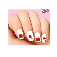 Waterslide Flowers Rose Nail Decals Set of 20 - Red Roses Assorted