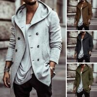 Men British Style Hooded Jacket Solid Color Coat Loose  Street Fashion Overcoat