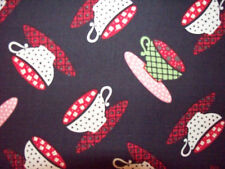 COFFEE TEA CUPS DRINKS BRIGHT MOD COTTON FABRIC FQ OOP