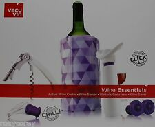 Vacu Vine Wine Essentials Kit Wine Cooler Server Waiter's Corkscrew & Saver Nib