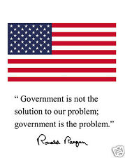 """Ronald Reagan Usa American Flag """" government is"""" Quote 8 x 10 Photo Picture #sg1"""