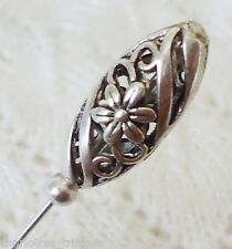 Silver Filigree Bead HatPin with clutch ~ Hat Brooch Stick Pin - approx. 76mm