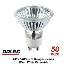 Bulk 50 Pack x 240V GU10 50W Halogen Downlight Globes / Bulbs / Lamps Dimmable