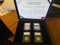 Brexit Official 2 Coin 50p Set And Official Stamp Set Withdrawal From Eu