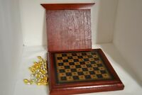 Traveling Chess Set Peg Board Game Pieces Fit Inside Pull Out Hidden Bottom Wood