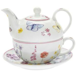 Tea For One Butterfly Garden Floral Fine China Tea Cup Pot & Saucer Gift Boxed
