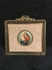 Antique Hand Painted Madonna & Chid On Porcelain In Bow top Filigree Frame-404