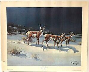 Signed Lowell Davis Lithograph TRUE AMERICANS Antelope Art Print 1976