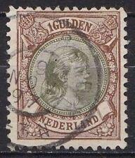 Nederland 1896 Prinses Wilhelmina1 gulden bruin/groen NVPH 46 B