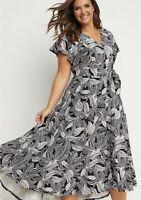 New LANE BRYANT $90 LENA Belted High-Low Maxi Dress Leaf Print Size 26