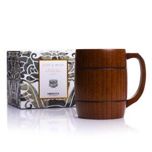 Wooden Tankard Beer Stein Mug Milk Coffee Drink Cup Groomsmen Gift 400ml
