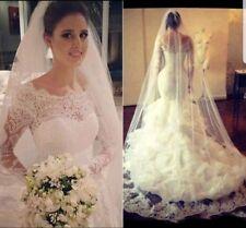 UK White/Ivory Long Sleeve Lace Organza Layered Mermaid Wedding Dress Size 6-16