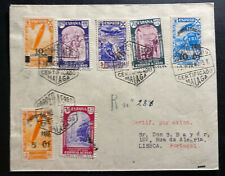 1940 Malaga Spain Airmail Registered cover to Lisboa Portugal Zeppelin Stamp