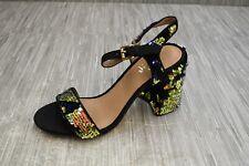 Shellys London Gale Block Heel Sandal - Women's Size 7.5 - Black/Blue
