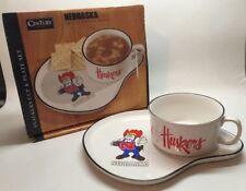 Vtg Sandwich Plate Soup Mug Nebraska Cornhuskers Century Japan Cup Tailgating L3